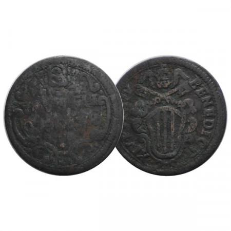 "1744 IV * 1 Baiocco Ferrara États Pontificaux ""Benoît XIV"" (KM 138) B/TB"