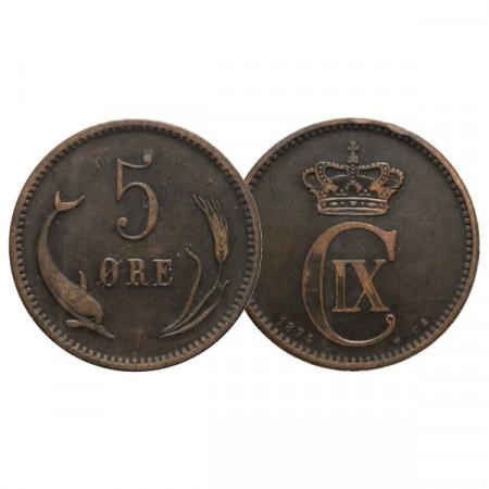 "1874 CS * 5 Ore Danemark ""Christian IX - Monogram"" (KM 794.1) TTB"