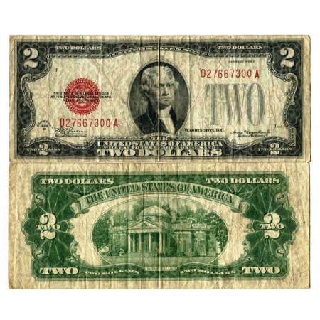 """1928 D * Billet États-Unis d'Amérique 2 Dollars """"Jefferson - Red Seal"""" (p378d) TB"""