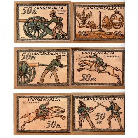 """1921 * Lot 6 Notgeld Allemagne 50 Pfennig """"Thuringe - Langensalza"""" (770.3)"""