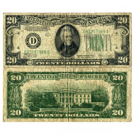 "1934 C * Billet États-Unis d'Amérique 20 Dollars ""Jackson - Dark Green Seal"" (p431Dc) TB"