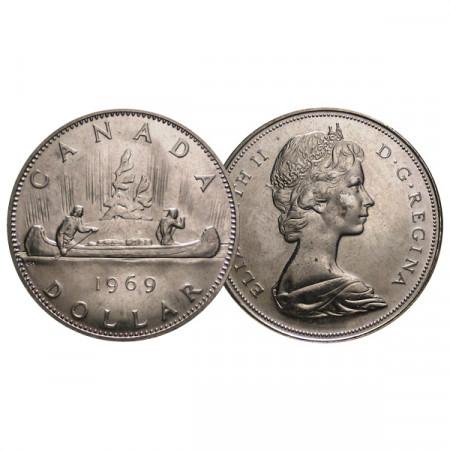 """1969 * 1 Dollar Canada """"Élisabeth II – Voyageur"""" (KM 76.1) SUP"""