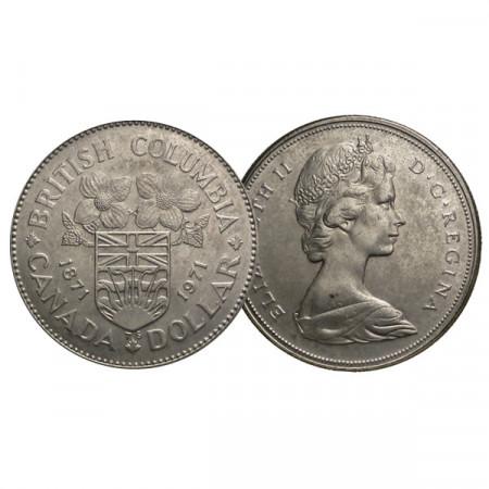 """1971 * 1 Dollar Canada """"100e Colombie-Britannique"""" (KM 79) SUP"""