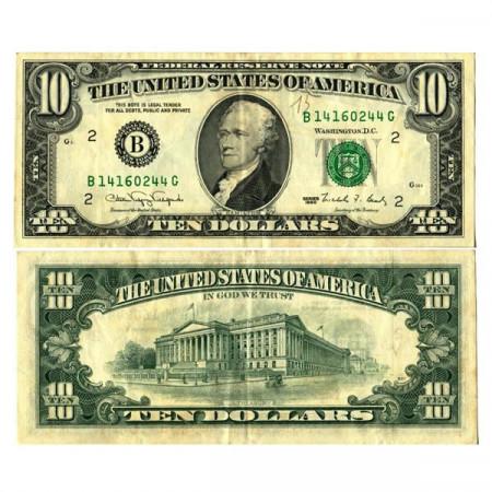 """1990 * Billet États-Unis d'Amérique 10 Dollars """"Hamilton - B2 New York"""" (p486) SUP"""