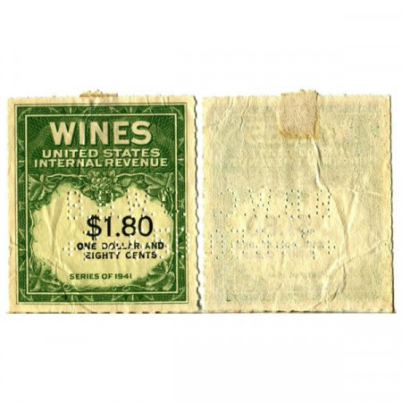 "1941 * Wine Stamp États-Unis 1,80 Dollars ""Green Wine Stamp"" (px) SUP"