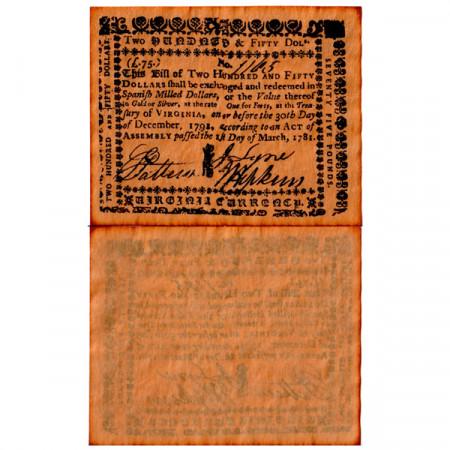 "1781 * Billet États-Unis 250 Dollars = 75 Pounds ""State of Virginia - REPLICA"" (pS3655) NEUF"