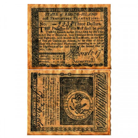 "1780 * Billet États-Unis 3 Dollars ""State of Rhode Island - REPLICA"" (pS3026) NEUF"