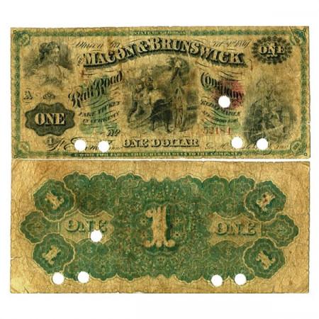 """1867 * Billet États-Unis d'Amérique 1 Dollar """"Macon & Brunswick"""" (px) TB"""