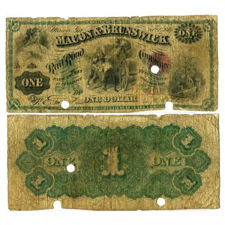 """1867 * Billet États-Unis d'Amérique 1 Dollar """"Macon & Brunswick"""" (px) B"""