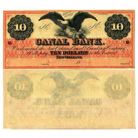 """18xx * Billet États-Unis d'Amérique 10 Dollars """"Canal Bank - New Orleans"""" (px) SUP+"""