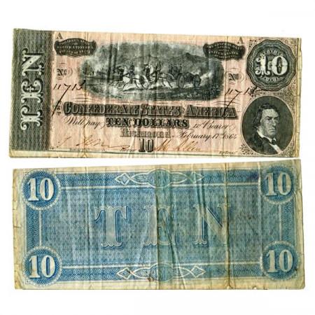 """1864 * Billet États Confédérés d'Amérique 10 Dollars """"Richmond"""" (p68) prTTB"""