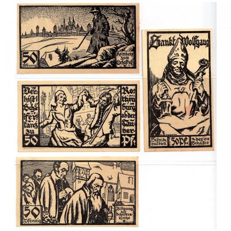 """1921 * Lot 4 Notgeld Allemagne 50 Pfennig """"Bavière - Rothenburg"""" (1141)"""