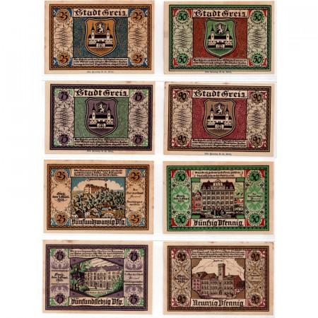 """1921 * Lot 4 Notgeld Allemagne 25 . 50 . 75 . 90 Pfennig """"Thuringe - Greiz"""" (471.2)"""