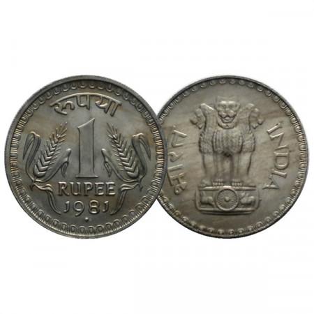 "1981 (b) * 1 Rupee Inde ""Ashoka Lion - Mumbai"" (KM 78.3) UNC"