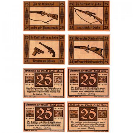 """ND (1922) * Lot 4 Notgeld Allemagne 25 Pfennig """"Thuringe - Suhl"""" (1303.1)"""