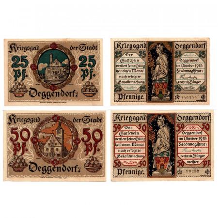 """1918 * Lot 2 Notgeld Allemagne 25 . 50 Pfennig """"Bavière - Deggendorf"""" (D8)"""