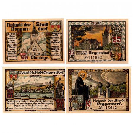 """1920 * Lot 2 Notgeld Allemagne 25 . 50 Pfennig """"Bavière - Deggendorf"""" (D8)"""