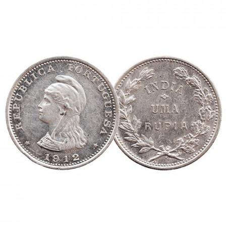 "1912 * 1 Uma Rupia Argent Inde Portugaise ""Liberty"" (KM 18) SUP"