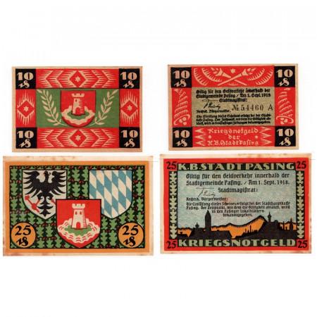 """1921 * Lot 2 Notgeld Allemagne 10 . 25 Pfennig """"Bavière - Pasing"""" (1050)"""