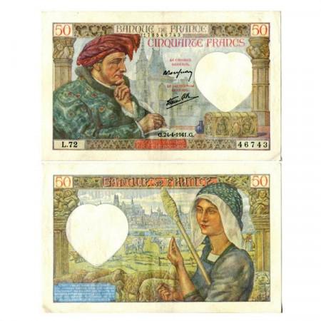 """1941 * Billet France 50 Francs """"Jacques Coeur"""" (p93) SUP"""