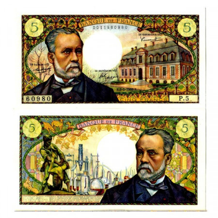 """1966 * Billet France 5 Francs """"Louis Pasteur"""" (p146a) NEUF"""