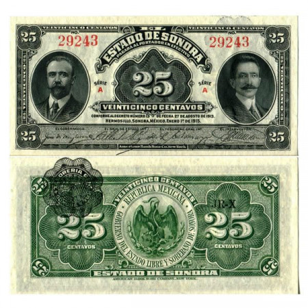 "1915 * Billet Mexique - Révolution Mexicaine 25 Centavos ""Estado de Sonora"" (pS1069) NEUF"