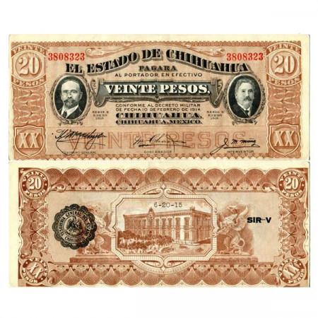 """1915 K * Billet Mexique - Révolution Mexicaine 20 Pesos """"Estado de Chihuahua"""" (pS537) SUP"""