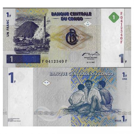 """1997 * Billet Congo République Démocratique 1 Franc """"Patrice Lumumba"""" (p85a) NEUF"""