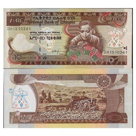 """2006 - EE.1998 * Billet Éthiopie 10 Birr """"Basket Weaver"""" (p48d) NEUF"""