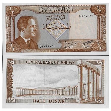 """ND (L.1959) * Billet Jordanie Half 1/2 Dinar """"King Hussein II"""" (p13c) NEUF"""