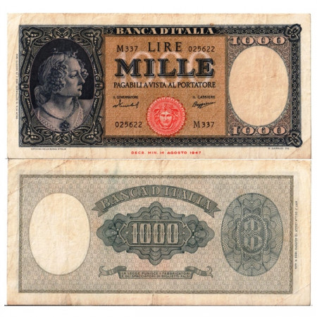 "1959 (15/09) * Billet Italie République 1000 Lire ""Busto d'Italia - Medusa""  BI.698 (p88c) TTB"
