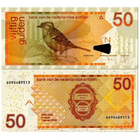 """2006 * Billet Antilles Néerlandaises 50 Gulden """"Bruant Chingolo"""" (p30d) NEUF"""
