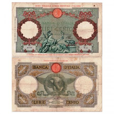 """1938 XVI (12/09) * Billet Afrique Orientale Italienne 100 Lire """"Occupation Italienne"""" AOI.943 (p2a) prTTB"""