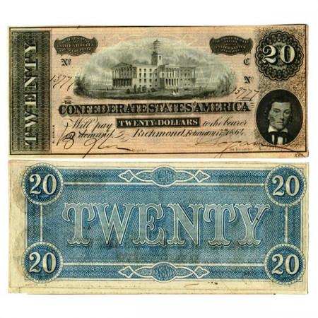 """1864 * Billet États Confédérés d'Amérique 20 Dollars """"Nashville - Richmond"""" (p69) SUP+"""