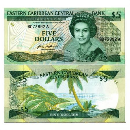 "ND (1986-88) * Billet East Caribbean States 5 Dollars ""Elizabeth II - A Antigua"" (p18a) NEUF"