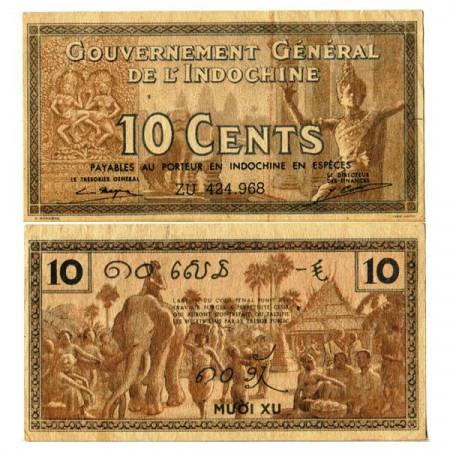 """ND (1939) * Billet Indochine Française 10 Cents """"Market - Elephant"""" (p85e) SUP"""
