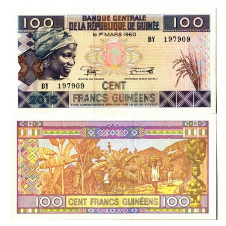 "2015 * Billet Guinée 100 Francs ""Banana Harvest"" (pA47) NEUF"