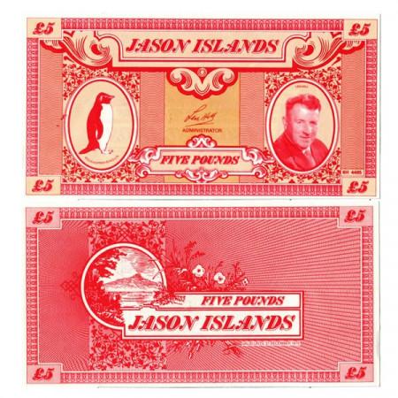 "1979 * Billet Îles Jason 5 Pounds ""Len Hill"" (px) NEUF"