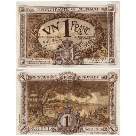 "1920 * Billet Monaco 1 Franc ""Emergency Issue"" (p4a) prSUP"