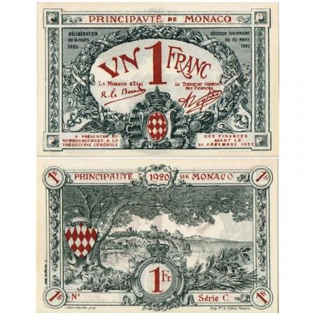 "1920 * Billet Monaco 1 Franc ""Emergency Issue"" (p5) prNEUF"