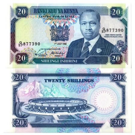 """1990 * Billet Kenya 20 Shillings """"President Arap Moi"""" (p25c) NEUF"""