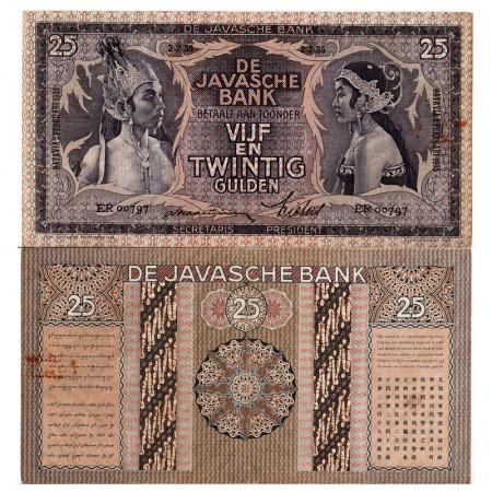 """1935 * Billet Indes Néerlandaises 25 Gulden """"Javanese Dancers"""" (p80a) TTB+"""