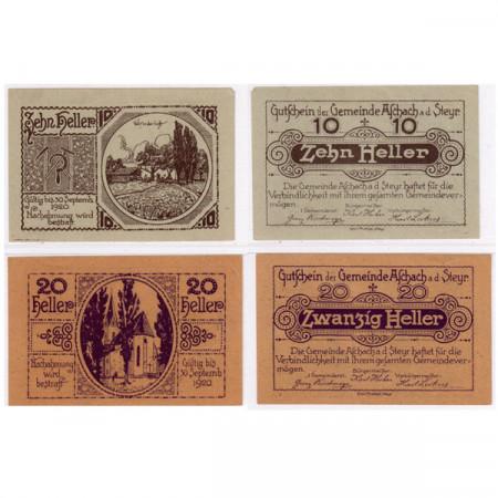 """1920 * Lot 2 Notgeld Autriche 10 . 20 Heller """"Haute-Autriche - Aschach a.d. Steyr"""" (FS 54)"""