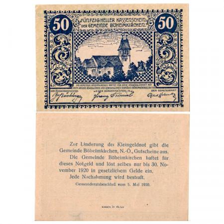 """1920 * Notgeld Autriche 50 Heller """"Basse-Autriche – Boheimkirchen"""" (FS 97)"""
