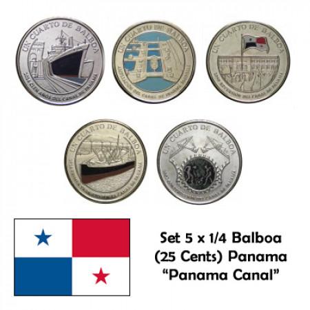 "2016 * Set 5 x Quarto 1/4 Balboa (25 Cents) Panama ""Canal de Panama 1-5"" UNC"