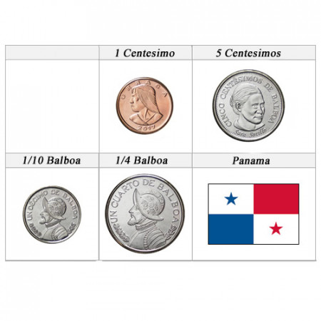"2017 * Série 4 Monnaies Panama ""Balboa"" UNC"