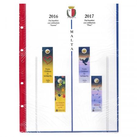 """2016-17 Feuille + Pochette 2 Euro Commémorative MALTE """"Amore - Pace"""" * ABAFIL"""