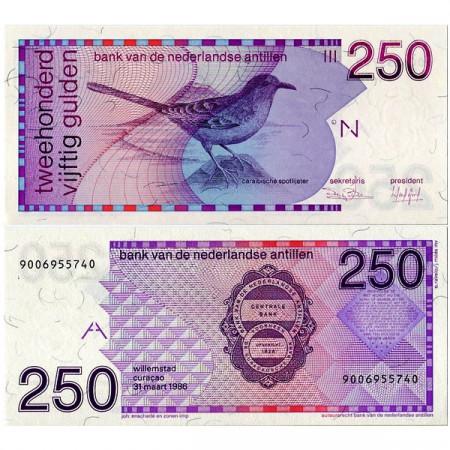 """1986 * Billet Antilles Néerlandaises 250 Gulden """"Moqueur des Savanes"""" (p27a) NEUF"""