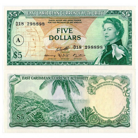 "ND (1965) * Billet East Caribbean States 5 Dollars ""Antigua"" (p14i) NEUF"
