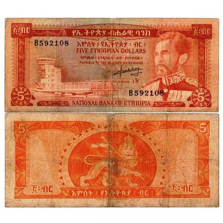 "ND (1966) * Billet Éthiopie 5 Dollars ""Haile Selassie I"" (p26a) TB"